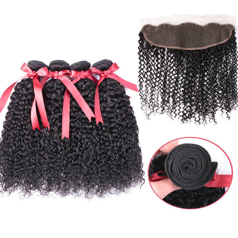 Ustar 7A Natural Black Virgin Jerry Curly Hair 3 Bundles with Frontal
