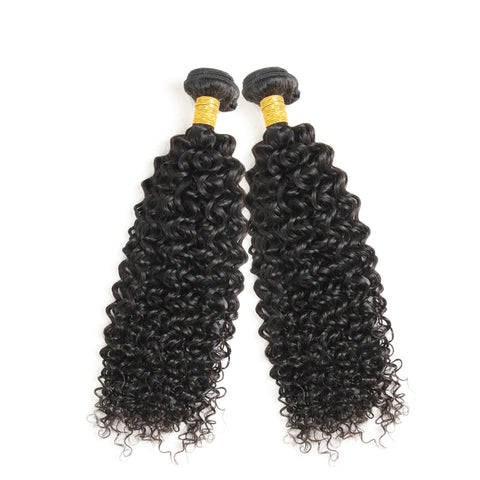 Ustar 7A Natural Black Virgin Jerry Curl Hair 2 Bundles with Frontal