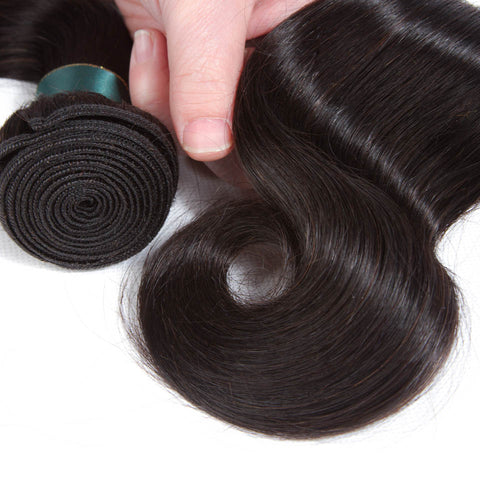 Ustar 7A Natural Black Virgin Body Wave  Hair 2 Bundles with 360 Frontal