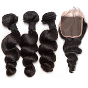 Ustar 7A Natural Black Virgin Bouncy Loose Wave Hair 3 Bundles with 4 by 4 Lace Closure