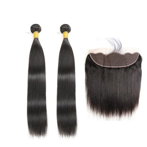 Ustar 7A Natural Black Virgin Straight Hair 2 Bundles with Frontal