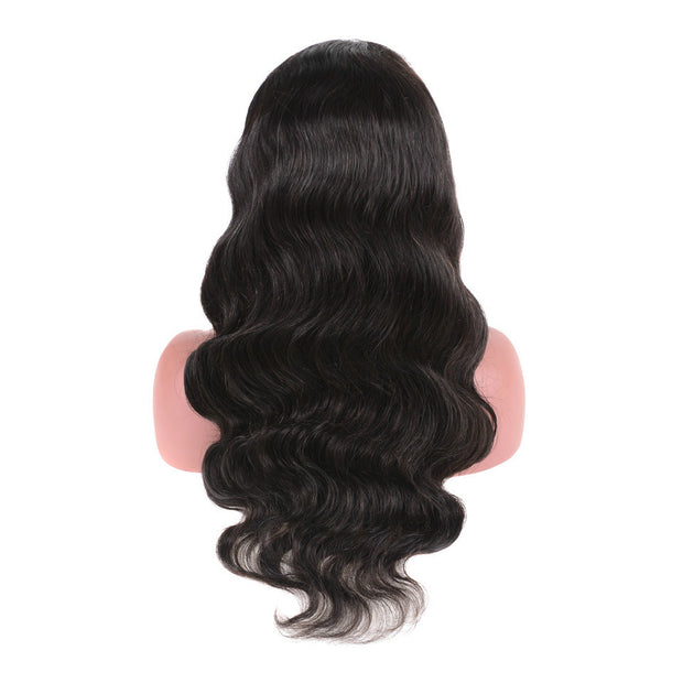 Ustar Lace Frontal Wig 150% Density Body Wave Virgin Remy Human Hair Natural Black