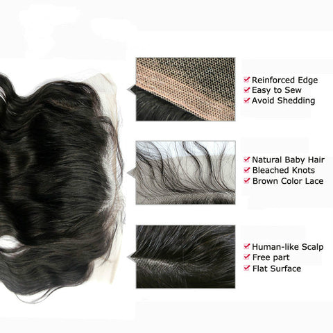 Ustar 100% Human Hair 13x14 Lace Frontal Free Part  Body Wave