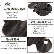Ustar 7A Natural Black Virgin Body Wave  Hair 2 Bundles with  Frontal