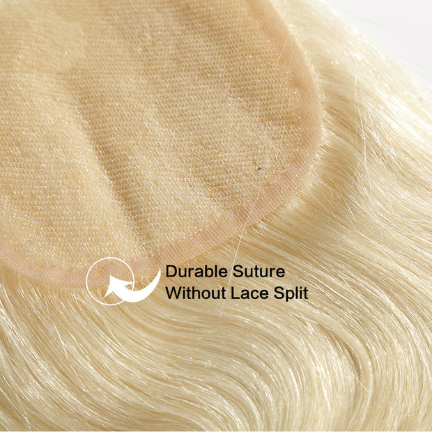 613 Honey Blonde Body Wave Human Hair 4x4 Lace Closure Free Part