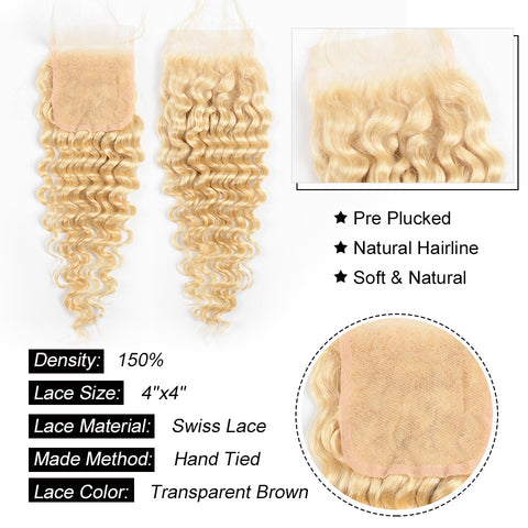 613 Honey Blonde Deep Wave Human Hair 4x4  Lace Closure Free Part
