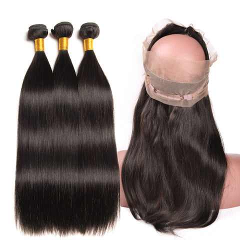 Ustar 7A Natural Black Virgin Straight Hair 3 Bundles with 360 Frontal