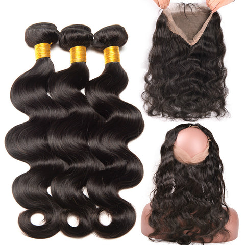 Ustar 7A Natural Black Virgin Body Wave Hair 3 Bundles with 360 Frontal