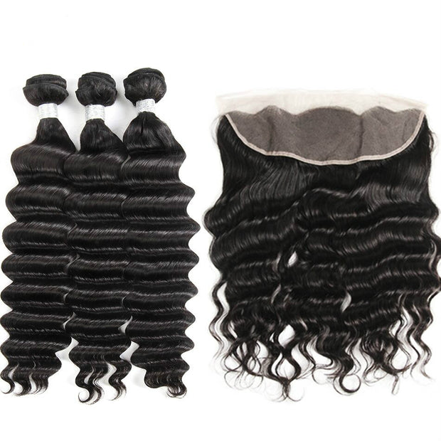 Ustar Natural Black Virgin Loose Wave Hair 3 Bundles with Frontal