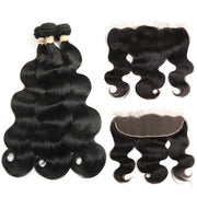 Ustar 7A Natural Black Virgin Body Wave Hair 3 Bundles with Frontal
