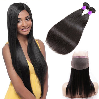 Ustar 7A Natural Black Virgin Stragiht Hair 2 Bundles with 360 Frontal