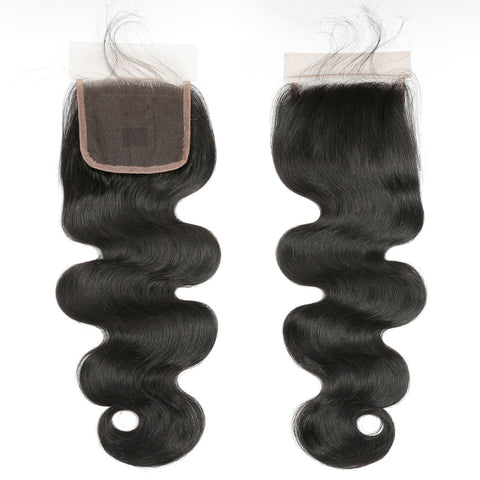 Ustar 7A Natural Black Virgin Body Wave Hair 3 Bundles with 4 by 4 Lace Closure