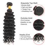 Ustar 7A Natural Black Virgin Deep Wave Hair 2 Bundles with Frontal