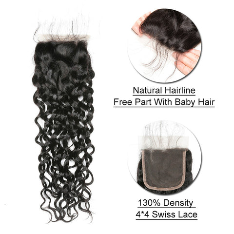 Ustar 7A Natural Black Virgin Water Wave (Natural Wave) Hair 3 Bundles with 4 by 4 Lace Closure