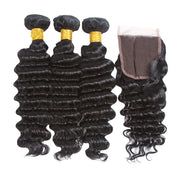 Ustar 7A Natural Black Virgin Deep Wave Hair 3 Bundles with 4 by 4 Lace Closure