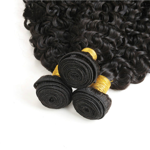 Ustar 7A Natural Black Virgin Jerry Curl Hair 3 Bundles with 4 by 4 Lace Closure