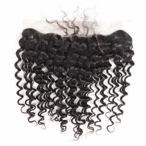 Ustar 7A Natural Black Virgin Deep Wave Hair 3 Bundles with Frontal