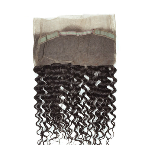 Ustar 7A Natural Black Virgin Deep Wave Hair 2 Bundles with 360 Frontal
