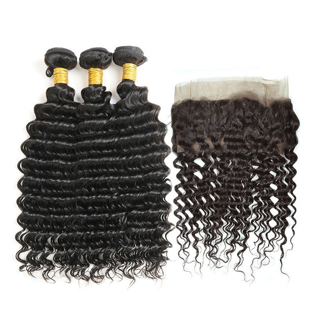 Ustar 7A Natural Black  Virgin Deep Wave Hair 3 Bundles with 360  Frontal
