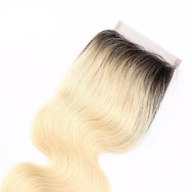 1B/613 Ombre Honey Blonde Body Wave Human Hair 4x4 Lace Closure