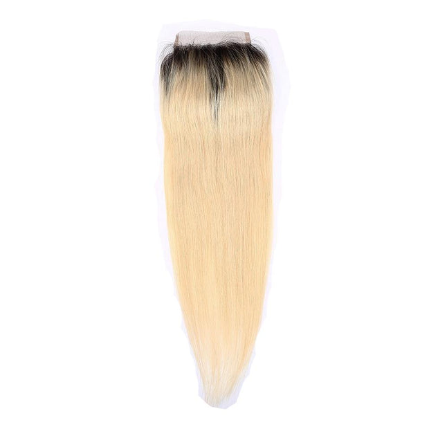1B/613 Ombre Honey Blonde Straight Human Hair 4x4 Lace Closure