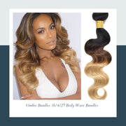 Ustar Ombre #1B/4/27 Black & Brown & Blonde Body Wave 100% Virgin Hair