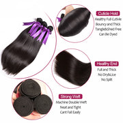 Ustar 7A Natural Black Virgin Straight Hair 3 Bundles with Frontal