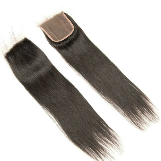 Ustar 7A Natural Black Virgin Straigh Hair 3 Bundles with 4 by 4 Lace Closure