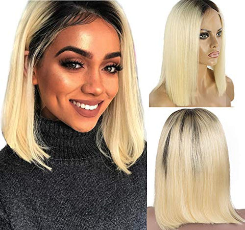 Ustar Short Bob Lace Frontal Wig 1B/613 Straight 150% Density