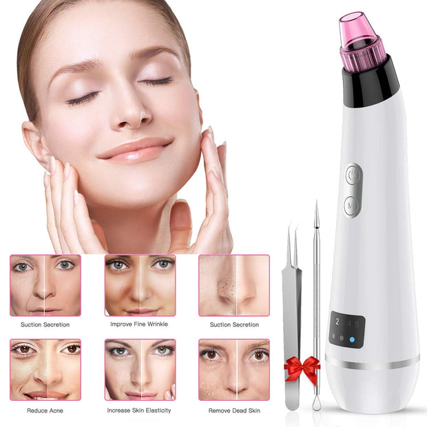 BESTOPE Blackhead Remover Vacuum, Skin Vacuum Pore Cleaner Blackhead Removal Tool Electric Acne Comedone Suction Device with IPL Beauty Lamp 2 Blackhead Extractor Tool for All Facial Skin Treatment