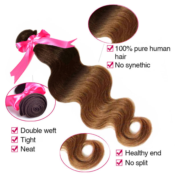 Ustar  6A Premium Ombre Brown/Copper  Body Wave  Virgin  Human Hair