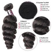 Ustar Affordable 100% Remy Human Hair bundle Natural (or Jet) Black color Loose Wave One bundle Deal 10 in to 30 Inch