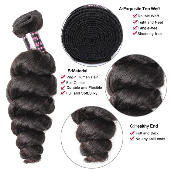 Ustar Economy 100% Remy Human Hair bundle Natural (or Jet) Black color Loose Wave One bundle Deal 10 in to 30 Inch