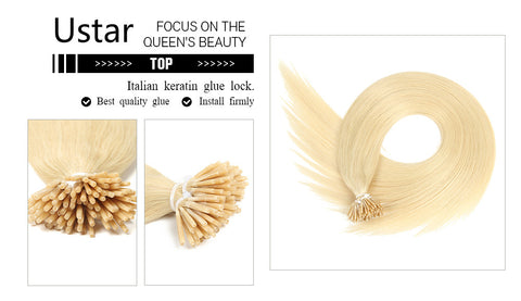 Ustar 100% Human Hair Quality I Tip Straight Hair Extensions #613