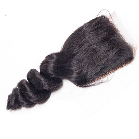 Ustar 100% Human Hair 4X4 Free Part CLOSURE Loose Bouncy