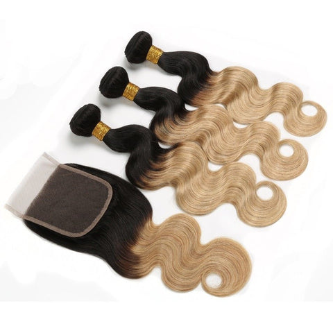 Ustar  Ombre 1B/27 Body Wave 3 Bundles with 4 by 4 Lace Closure