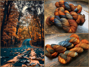 Country Road on Superwash 70% Merino/20% Silk/10% Cashmere Sock