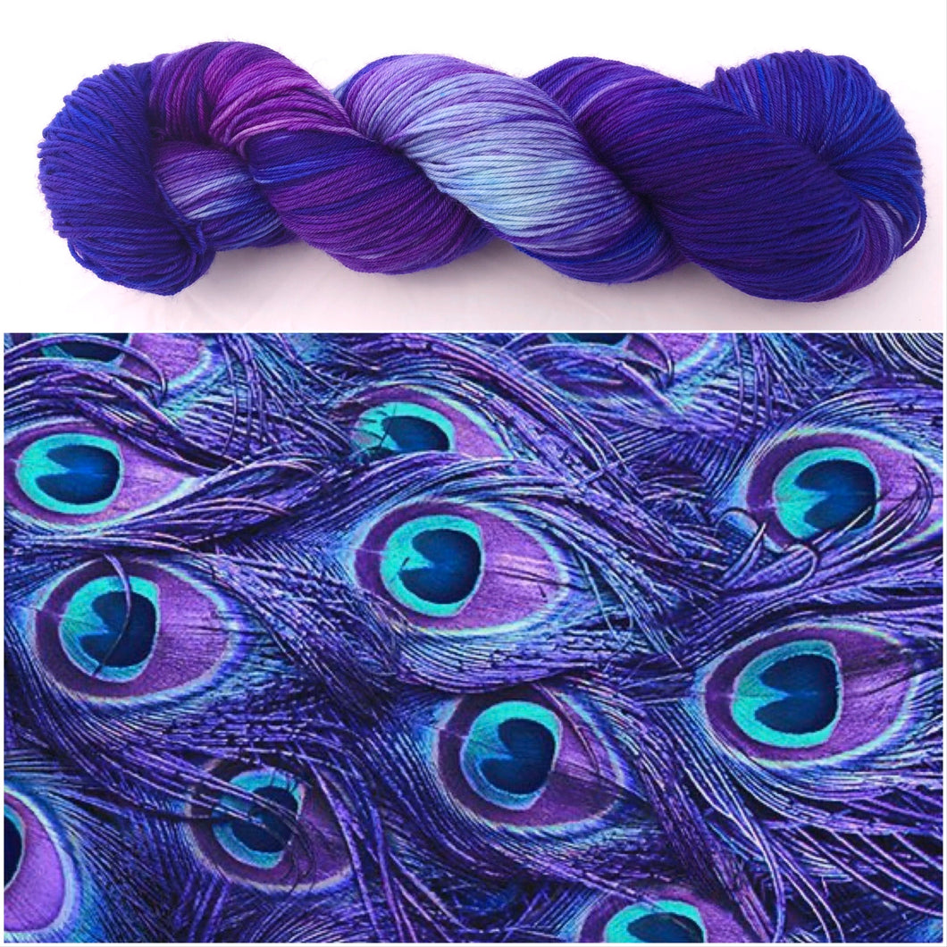 Purple Peacock on 80% Superwash Merino/20% Nylon 2-Ply Twist Sock