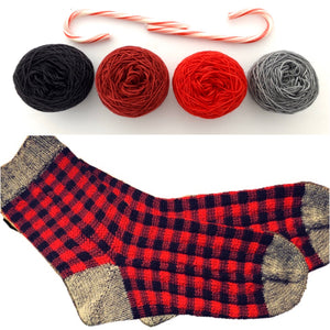 "Reserved order for Cindy: Buffalo Plaid ""Wood Socks"" Yarn Set  on Superwash 75% Superwash Merino/25% Nylon Sock"