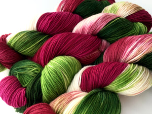 Poinsettia on Superwash 70% Merino/20% Silk/10% Cashmere Sock