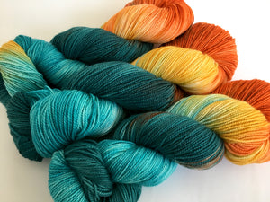 Blue Horizon on 80% Superwash Merino/20% Silk 2-Ply Twist Silken Sock