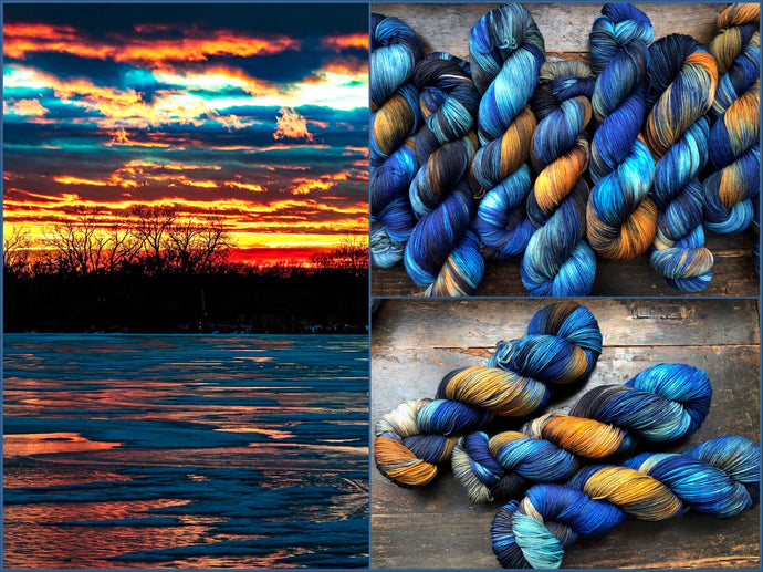 Dawn on the Water on 75% Superwash Merino/25% Nylon Sock