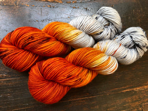 Birch Fire on 100% Superwash Merino Worsted