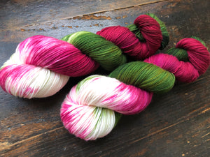 Poinsettia on Superwash 75% Superwash Merino/25% Nylon Sock