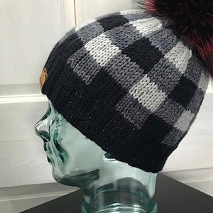 Reserved Order for Woofie: Yukon Campfire Hat Yarn Set (Grey) With PomPom
