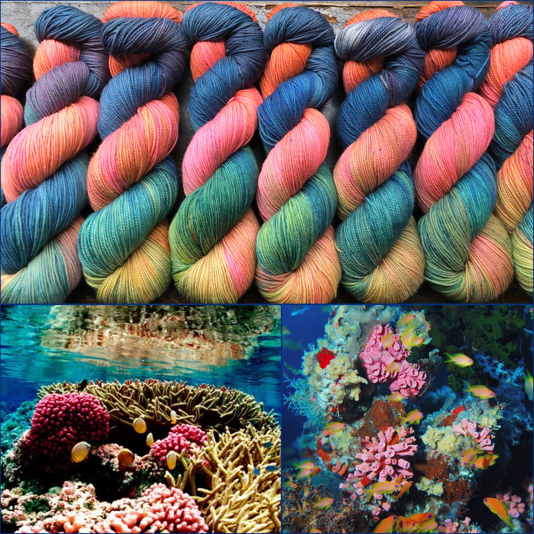 Coral Reef on Superwash 75% Superwash Merino/25% Nylon Sock