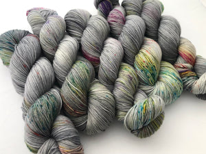 Reserved order for Kathy: Ice Storm on Superwash 75% Superwash Merino/25% Nylon Sock