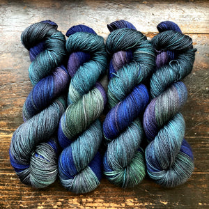New Dawn on 80% Superwash Merino/20% Silk 2-Ply Twist Silken Sock