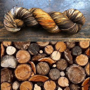 Firewood on Glitter Gold Sock
