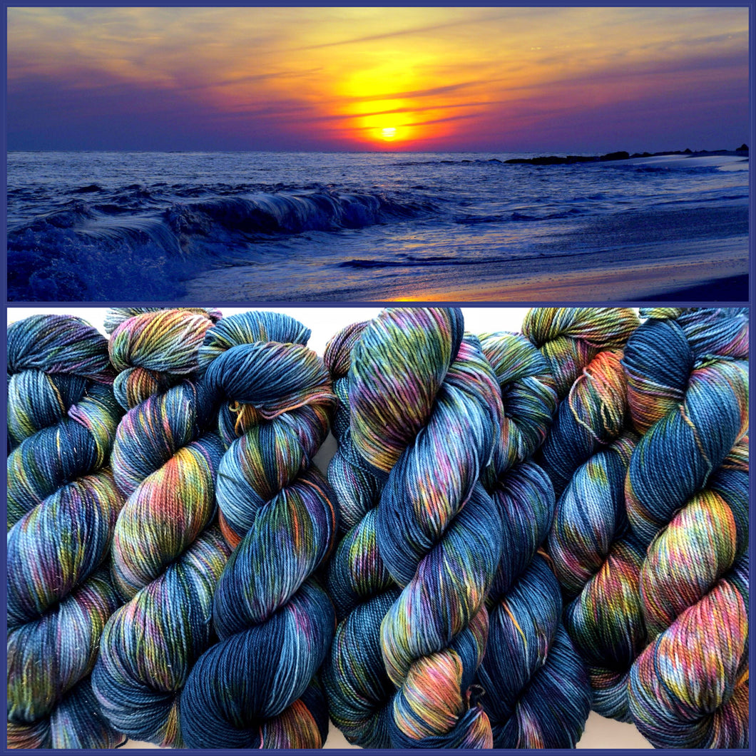 Magic Hour 2.0 on Silken Sock 80% Superwash Merino/20% Silk 2-Ply Twist Sock